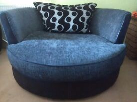 Black Shannon Cuddler Swivel sofa chair PLUS One-seater sofa chair - NOW REDUCED TO £190!