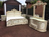 French - Ornate - Rococo Super King Size Bed - French Bedside Table - French Dressing Table-Stunning