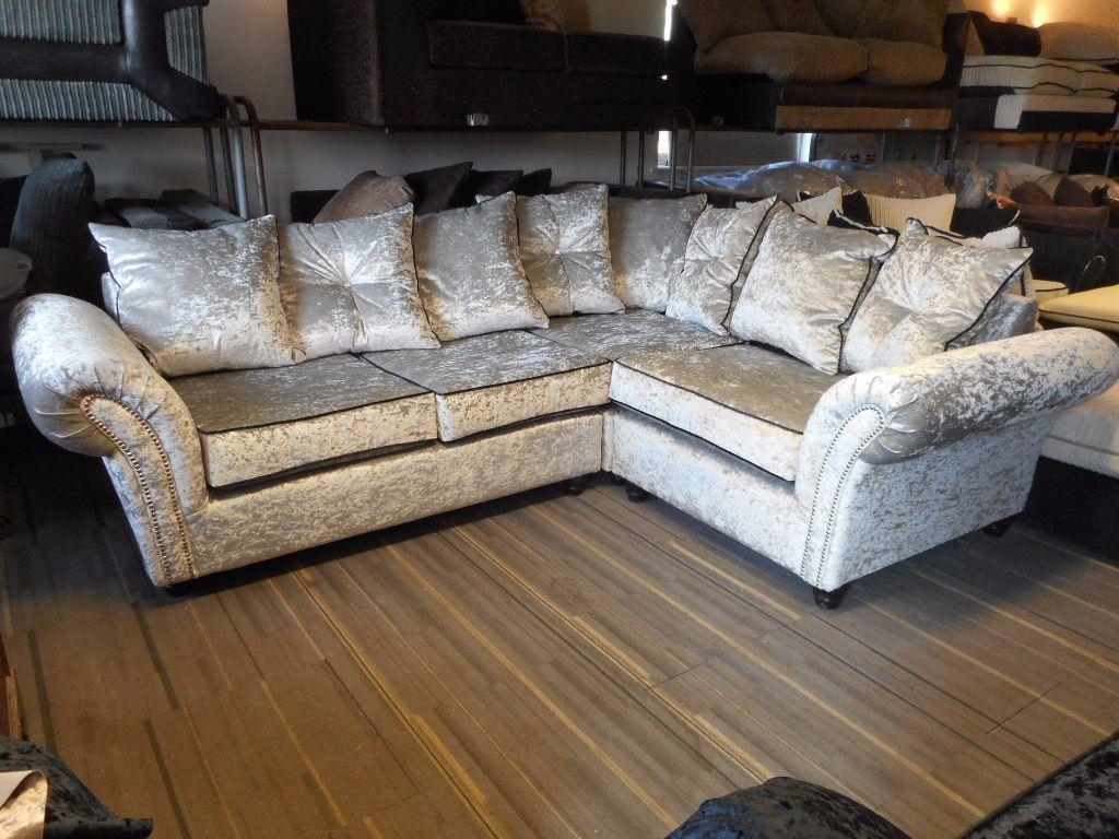 Brand New Silver Crushed Velvet Corner Sofa Corner Suite