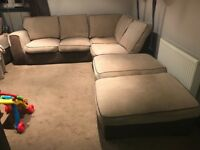 Corner Sofa/Suite, 3 Seater Sofabed, Cuddle/Swivel Chair Plus 2 Footstools