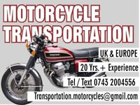 Motorcycle Transport, bikes moved for MOT, bought or sold bikes moved, contact for quote
