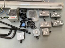 Garage or shed lighting switches and metal power points