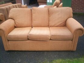 3 seater sofa golden brown