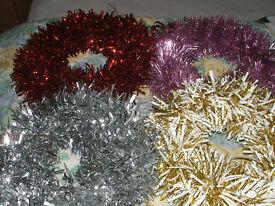 4 tinsel decorations