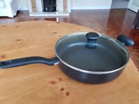 Used Tefal large covered frying pan