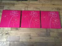 3 piece beautiful canvasses canvas with embroidery and sequin detailing