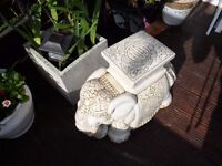 GARDEN ELEPHANT ORNAMENT CAN PUT POT ON OR CAN BE USED INDOORS CERAMIC