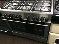 Stainless steel Kenwood 90cm dual fuel cooker grill & double fan ovens with guarantee