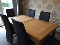 Oak veneer dining table - seats 6-8