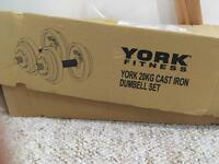 York fitness dumbbell set cast iron- 20kg