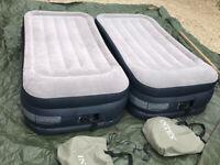 2 Intex Dura-Beam Inflatable Single Matress Air Bed with Built in Pump