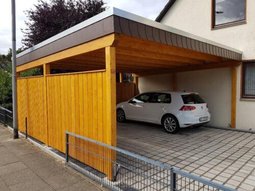 carport modern doppelcarport flachdach pultdach design in. Black Bedroom Furniture Sets. Home Design Ideas