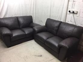 Dark brown leather 3/2 seater sofas excellent condition