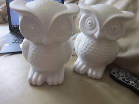 2x owl lamps