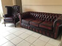 LEATHER CHESTERFIELD SUITE ANTIQUE OXBLOOD RED LEATHER TIMELESS FURNITURE CAN DELIVER COME AND SEE