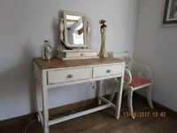 Beautiful French Shabby Chic Solid Oak Dressing Table/Desk/Console &Mirror&Chair Seller Refurbished