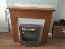 Electric Fireplace with Wooden Surround Marbel Effect Insert