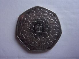 2011 WWF 50 PENCE COIN. THE COIN HAS BEEN IN CIRCULATION.