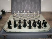 Swarovski crystal chess set with original carry case and board