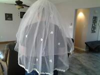 white triple-tier finger tip veil- $25.00