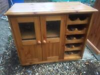 Solid pine wine rack and cupboard. R