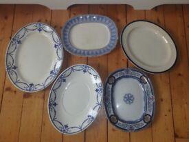 ANTIQUE VINTAGE OLD LARGE SERVING PLATTERS PLATES, ALLERTON, ASHWORTH, PETER PRINGLE GLASGOW