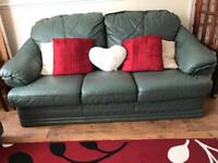 GREEN 3 SEATER SOFA WITH 2 ARMCHAIRS AND STORAGE FOOTSTOOL