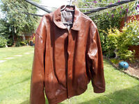 Immaculate, Lined, soft leather, gents brown jacket. Excellent condition.