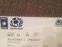 Six Nations Scotland v Ireland Rugby ticket for sale FACE VALUE