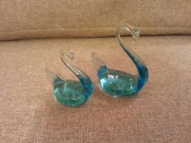 Murano blue glass swans