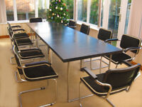 BLACK WOOD - 10 FOOT TABLE & 10 MATCHING CHAIRS (6 WITH ARMS - 4 WITHOUT) IN VERY GOOD CONDITION