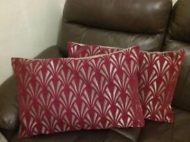 Beautiful red and gold cushions x2