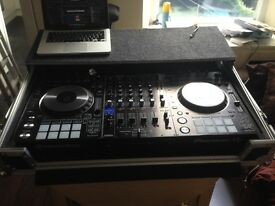 Pioneer DDJ RZ, flight case, Mackie CR4 monitor speakers and Hard drive with over 100Gb of songs