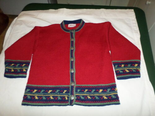 VINTAGE CHILD HAND KNIT NORWAY TRADITIONAL NORWEGIAN WOOL SWEATER RED WHITE