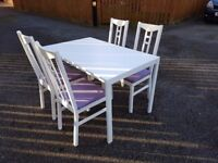 White Dining Table & 4 White Ikea Aaron Chairs FREE DELIVERY 383