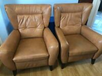 Real Italian Tan Leather Recliner Wingback chairs pair armchairs