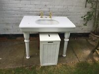 White solid enamel Victorian basin