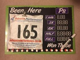 Runners Dry Wipe Board Medal Hanger with 12 week training plan scheduler