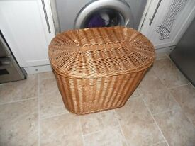 large wicker storage basket with lid