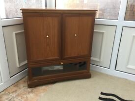 Wooden teak television corner cabinet unit for sale