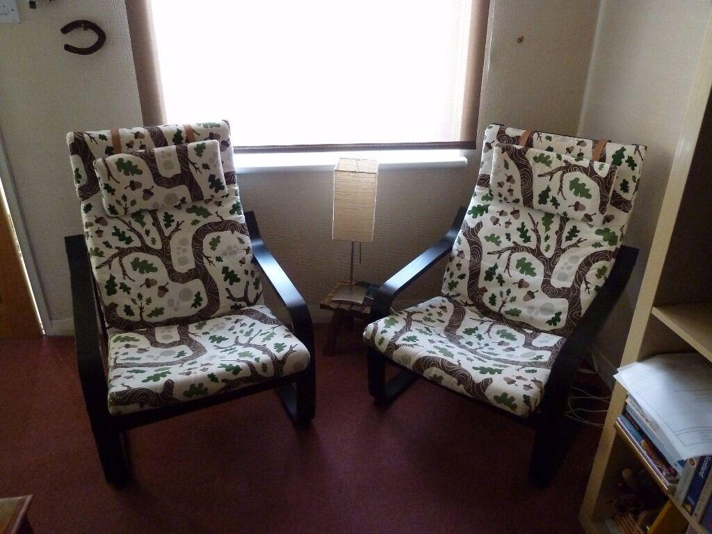 Pair of Ikea POÄNG Armchair