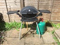 Weber Q220 Gas BBQ with Stand (Used) + BBQ Scraper (Used) + BBQ Trays