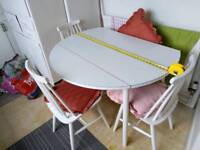 Drop leaf extendable table & 4 chairs