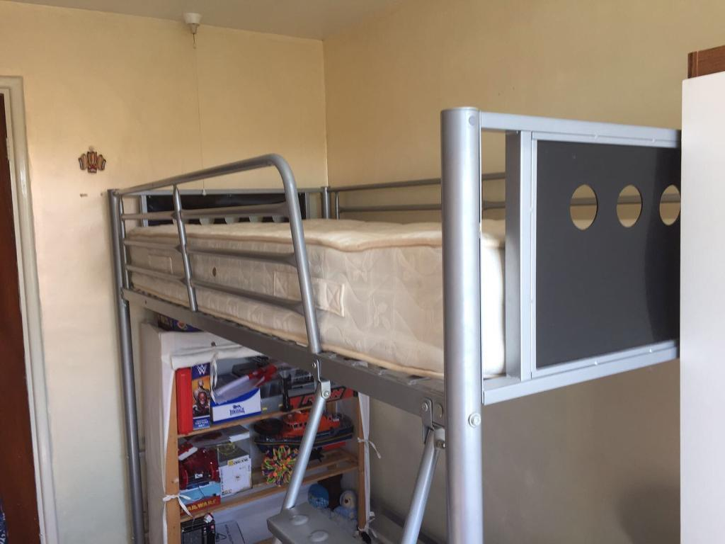 Now sold - Metal single high sleeper bed and mattress.