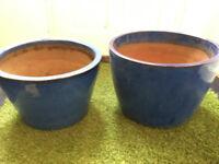 Large blue glazed outdoor plant pots