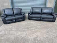Black dfs leather 3&2 seater sofas couches, furniture 🚛🚚🚛