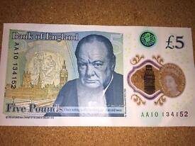 New Plastic £5 pound notes, all AA Serial numbers. Low price.
