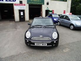 2007 MINI ONE PEPPER CONVERTIBLE. 3 OWNER CAR ,WARRANTED MILES,PART SERVICE HISTORY
