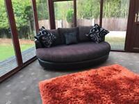 DFS QUANTUM Cuddler Sofa Good Condition Two Tone Fabric Black Leather Chrome Feet