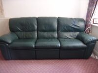 Leather Sofa 3 and 2 seater suite Green leather recliner